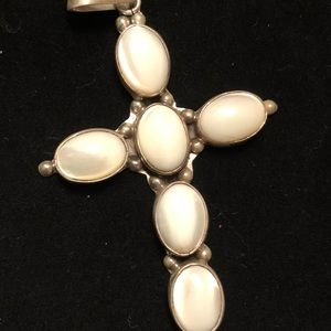 Gorgeous sterling and mother of pearl cross